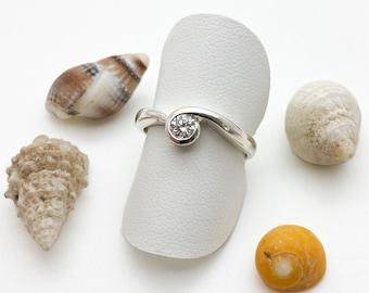 Stunning Silver & Diamond Cornish Wave Ring - Handmade Douglas Hughes Design
