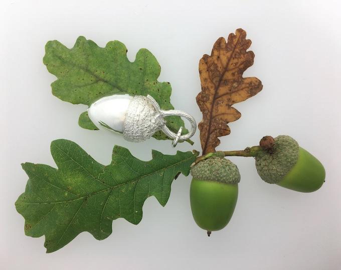 Large Solid Silver Acorn Pendant, Handmade Cornish Pendant