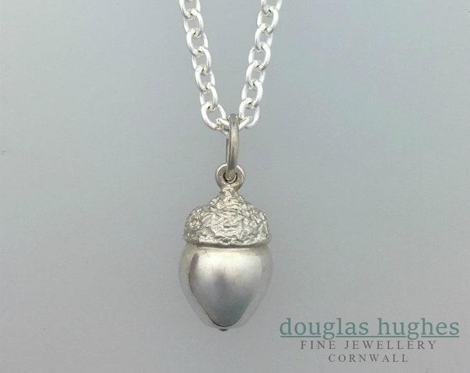 Solid Silver Acorn Pendant, Handmade Silver Pendant