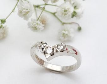 Diamond set Silver Wishbone Ring - Handmade Douglas Hughes Design