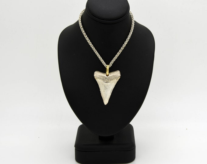 Great White Shark Tooth Necklace  - Fabulous Handmade Silver & 18ct Yellow Gold Pendant: Shark Tooth Necklace, Shark Tooth Jewellery, Shark