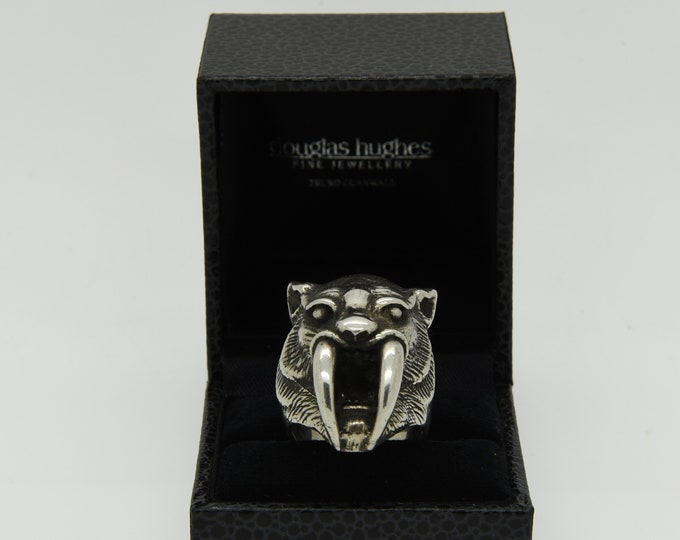 Handmade Silver Sabre-Toothed Tiger Ring, Douglas Hughes Design
