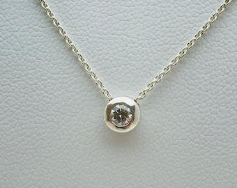 Floating Silver 15pt Diamond Pendant (with complimentary chain) - Handmade Douglas Hughes Design