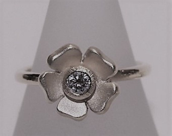 Diamond Silver Flower Ring - Handmade Douglas Hughes Design