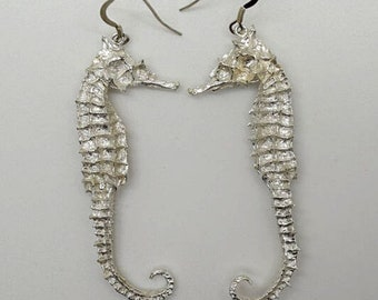 Solid Silver Seahorse Drop Earrings - Handmade Douglas Hughes Design