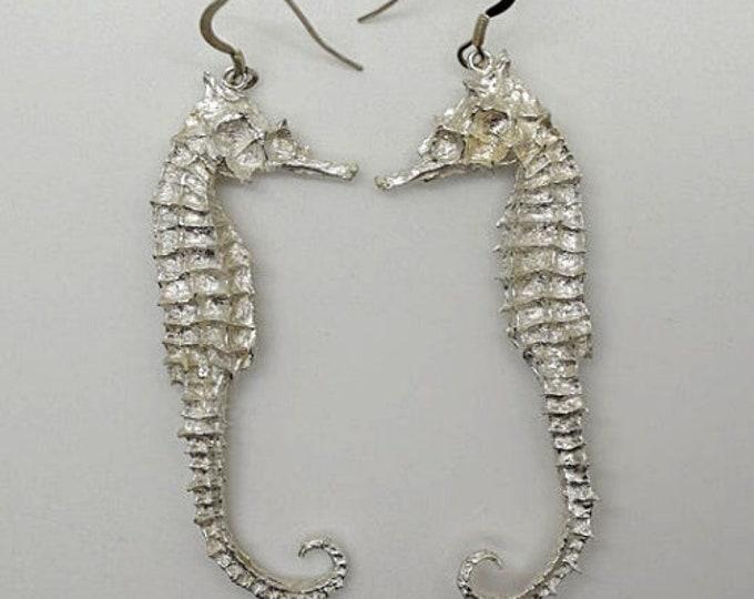 Solid Silver Seahorse Drop Earrings - Handmade Douglas Hughes Design