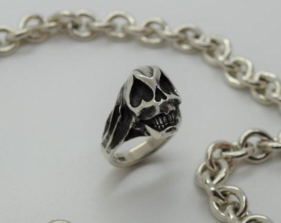 Sugar Skull Ring - Solid Silver - Handmade by Douglas Hughes