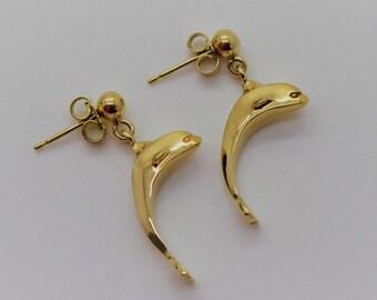 Gold Dolphin Earrings - Handmade Douglas Hughes Design
