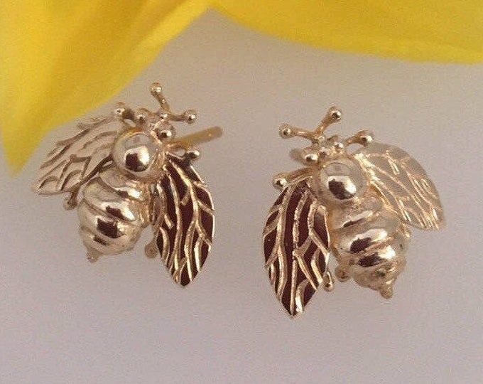 18ct Gold Cornish Bee Earrings - Handmade Douglas Hughes Design