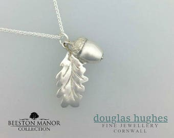 Acorn & Oak Leaf Pendant - Solid Silver - Handmade by Douglas Hughes