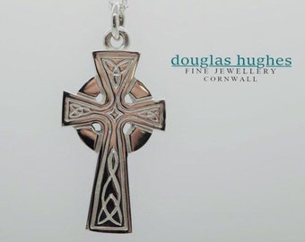 Cornish Celtic Cross, Solid Silver Celtic Cross - Handmade in Cornwall - Douglas Hughes Design