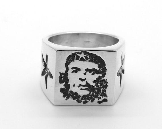 Che Guevara Solid Silver Heavyweight Ring.  Handmade Douglas Hughes