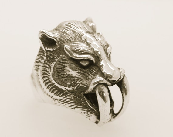 Sabre-Toothed Tiger Ring -  Handmade  Douglas Hughes Hellraiser Collection