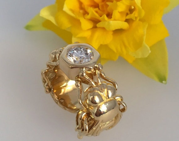 Diamond Set Bee Ring - 18ct. Yellow Gold - Exceptional Handmade Douglas Hughes Design.
