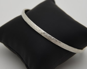 Hammered and Satinised Solid Silver Heavyweight Bangle - Handmade Douglas Hughes Design