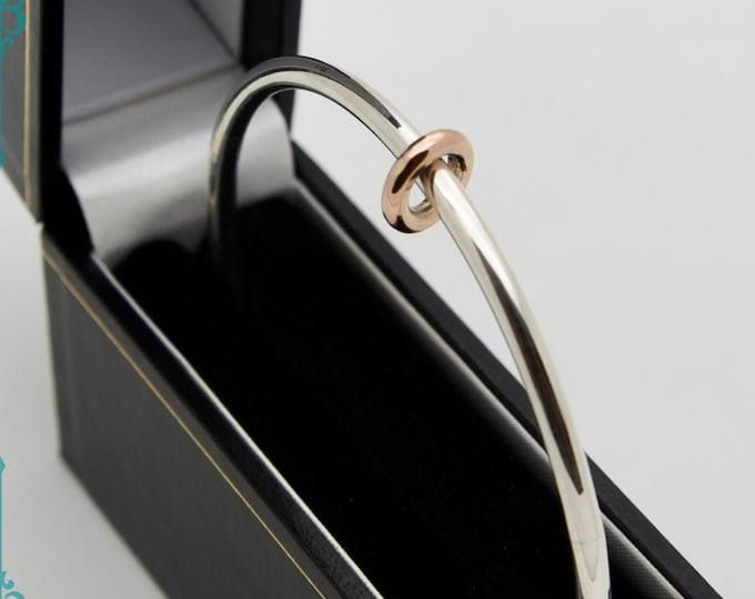 Silver Bangle with 9ct Rose Gold Ring - Handmade Douglas Hughes Design