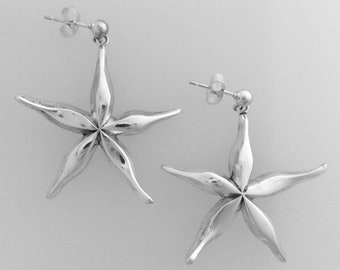 Cornish Starfish Drop Earrings - Handmade by Douglas Hughes