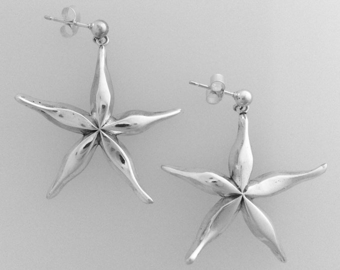 Cornish Starfish Drop Earrings - Handmade by Douglas Hughes