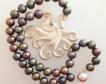 Octopus Pendant with  Black Freshwater Pearls - Handmade Douglas Hughes Design
