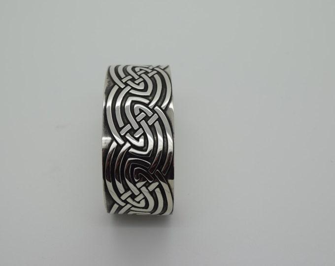Celtic Patterned Cuff Bangle - Douglas Hughes Fine Jewellery
