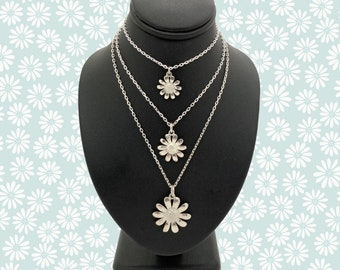 Solid Silver Handmade Cornish Daisy Pendants (Small/Medium/Large) - Douglas Hughes Design
