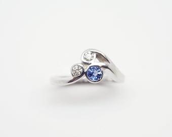 Blue Sapphire & Diamond Silver Ring - Handmade Douglas Hughes Design