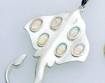 Silver Stingray Pendant - Set with Opals - Original Douglas Hughes Design - Handmade in Cornwall