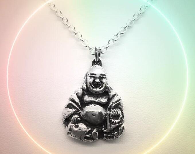 Handmade Solid Silver Smiling Buddha Pendant - Douglas Hughes Design: Budai Pendant, Heavyweight Buddha Pendant, Buddha Necklace, Budai