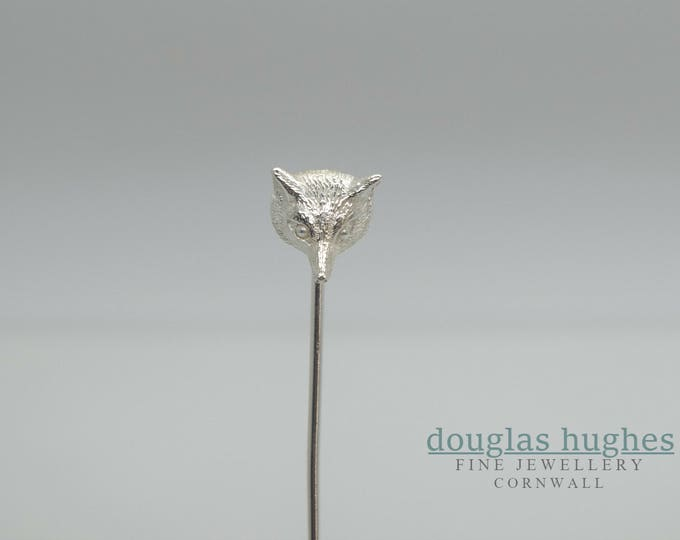Solid Silver Fox Head Pin, Handmade by Douglas Hughes: Fox Brooch, Fox Pin, Fox Head, Fox Jewellery, Fox Head Brooch, Silver Fox Head