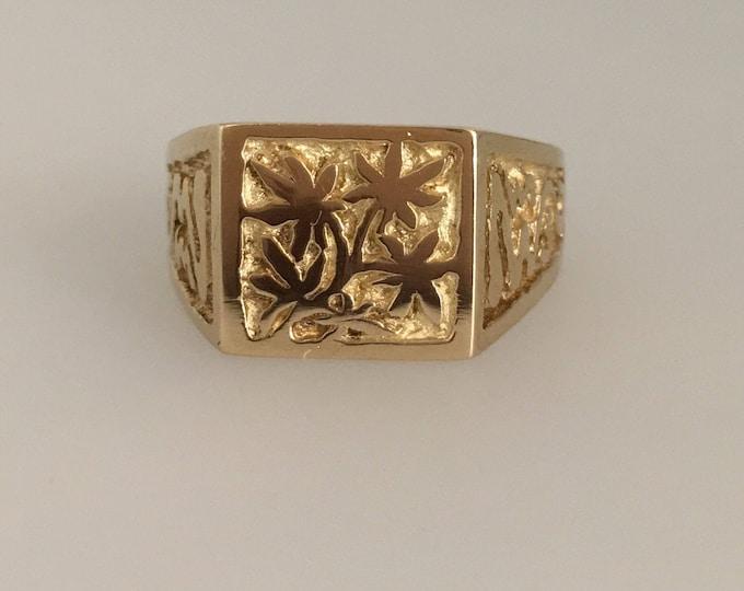 Yellow Gold Engraved 'Haze' Signet Ring. Original Design by Douglas Hughes - Handmade in Cornwall