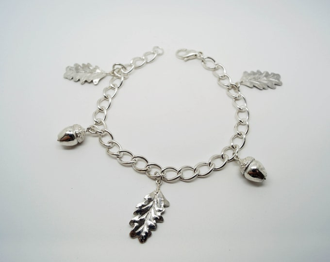 Silver Charm Bracelet, Acorn and Oak Leaf Charm Bracelet, Handmade Charm Bracelet