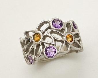 Amethyst and Citrine Silver Flower Ring - Handmade Douglas Hughes Design