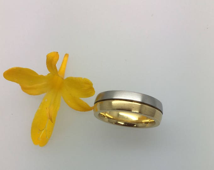 Platinum & Gold Two Tone Wedding Band - Handmade in Cornwall by Douglas Hughes