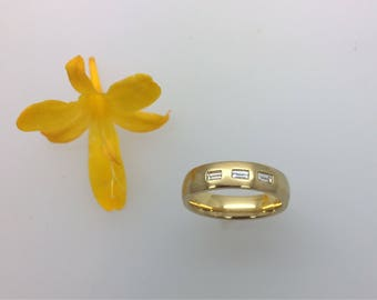 18ct Yellow Gold Diamond Set Band - Handmade in Cornwall by Douglas Hughes