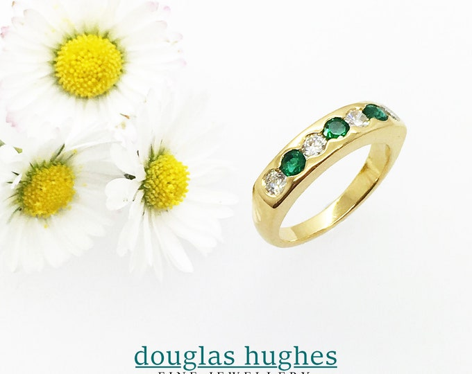 Emerald & Diamond Set Band - 18ct Yellow Gold - Douglas Hughes Design