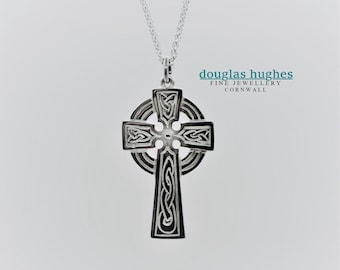 Silver 'Demelza' Cross: Cornish Celtic Cross, Solid Silver Celtic Cross Pendant - Douglas Hughes Design - Handmade in Cornwall