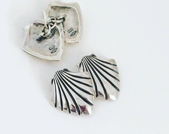 Silver 'Medieval Scallop Shell' Cufflinks. Original Douglas Hughes Design - Handmade in Cornwall