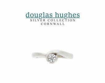 Cornish Wave Ring - Silver & Diamond - Douglas Hughes Design Handmade in Cornwall