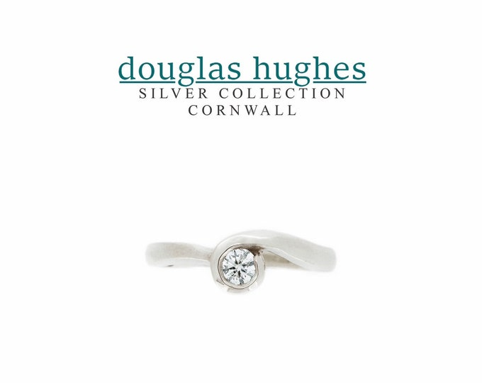 Cornish Wave Ring - Silver & Diamond - Douglas Hughes Design Handmade in Cornwall