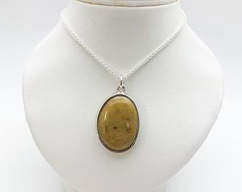 Highly Polished Cornish Beach Pebble Pendant (Mustard, Extra Large), Set In Silver - Handmade Douglas Hughes Design
