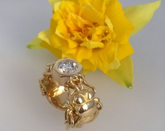 Diamond Set Bee Ring, 18ct. Yellow Gold - Exceptional Handmade Douglas Hughes Design