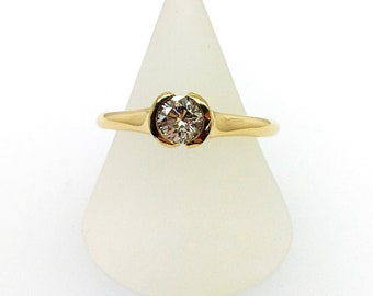 18ct Yellow Gold Tension Set Round Brilliant Diamond Ring, Douglas Hughes Design.