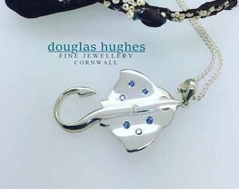 Stingray Pendant Set with Sapphires & Diamonds - Original Douglas Hughes Design - Handmade in Cornwall