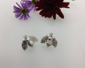 Solid Silver Cornish Bee Earrings - Handmade Douglas Hughes Design