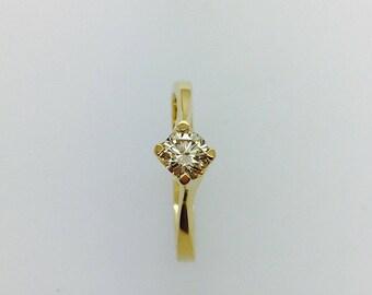 Diamond Solitaire Ring - 18ct Yellow Gold - Handmade Douglas Hughes Design