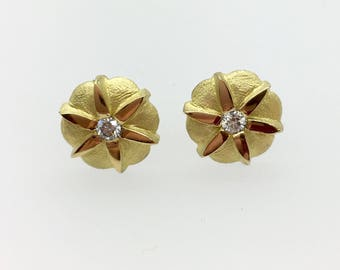 Diamond set Anemone Earrings - 18ct Yellow Gold - Handmade in Cornwall