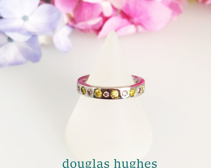 Platinum Ring set with Natural Pink & Yellow Diamonds - Douglas Hughes Design Handmade in Cornwall