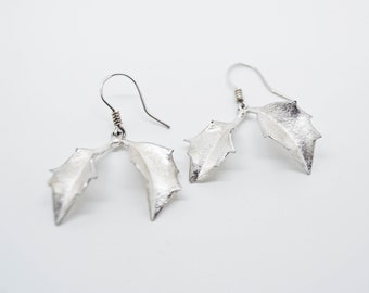 Silver Holly Leaf Earrings, Handmade in Cornwall, Douglas Hughes Design
