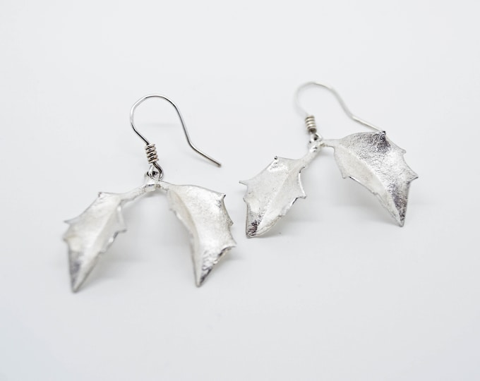 Silver Holly Leaf Earrings, Handmade in Cornwall, Douglas Hughes Design