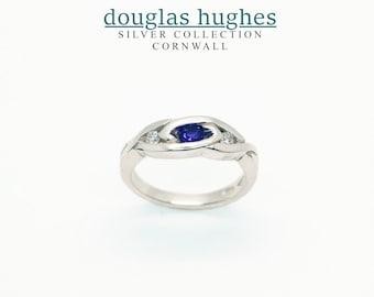 Amethyst & Diamond Silver Celtic Weave Ring - Handmade Douglas Hughes Design